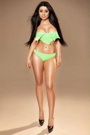 Aleeza in a green bikini