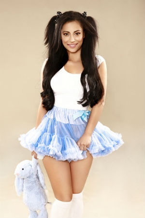 Lacreta wearing a cute blue skirt.