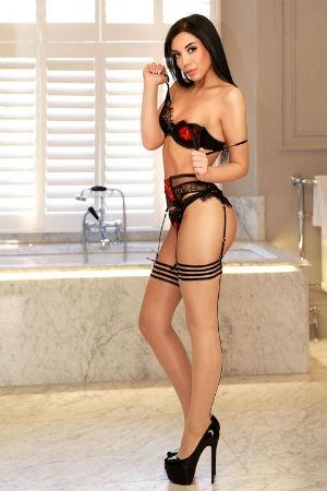 Elora posing in her black lingerie