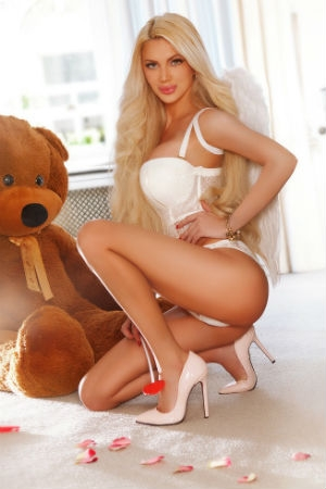 Stunning escort posing with her teddy bear