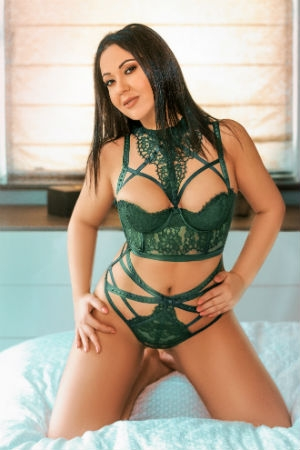 Alina in green sexy lingerie