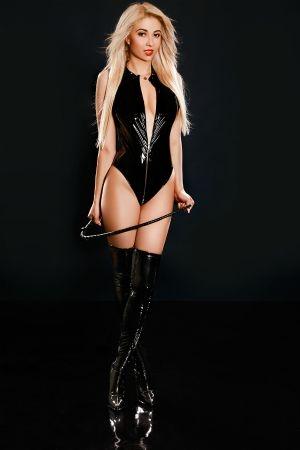 Casandra wearing latex bdsm leather